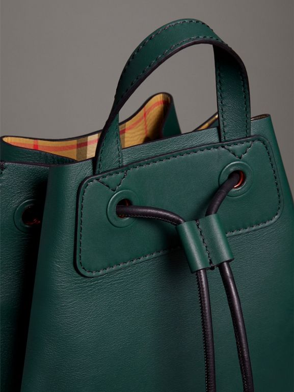 Graffiti Print Bonded Leather Drawcord Backpack in Deep Bottle Green - Men | Burberry Australia - cell image 1