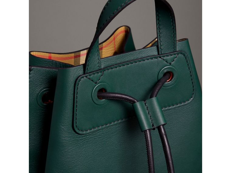 Graffiti Print Bonded Leather Drawcord Backpack in Deep Bottle Green - Men | Burberry United States - cell image 1