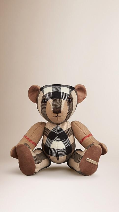 Ocre sombre Teddy-bear en cachemire à motif check - Image 1
