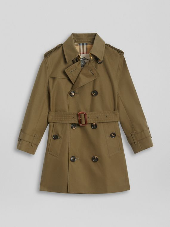 Cotton Gabardine Trench Coat in Military Olive