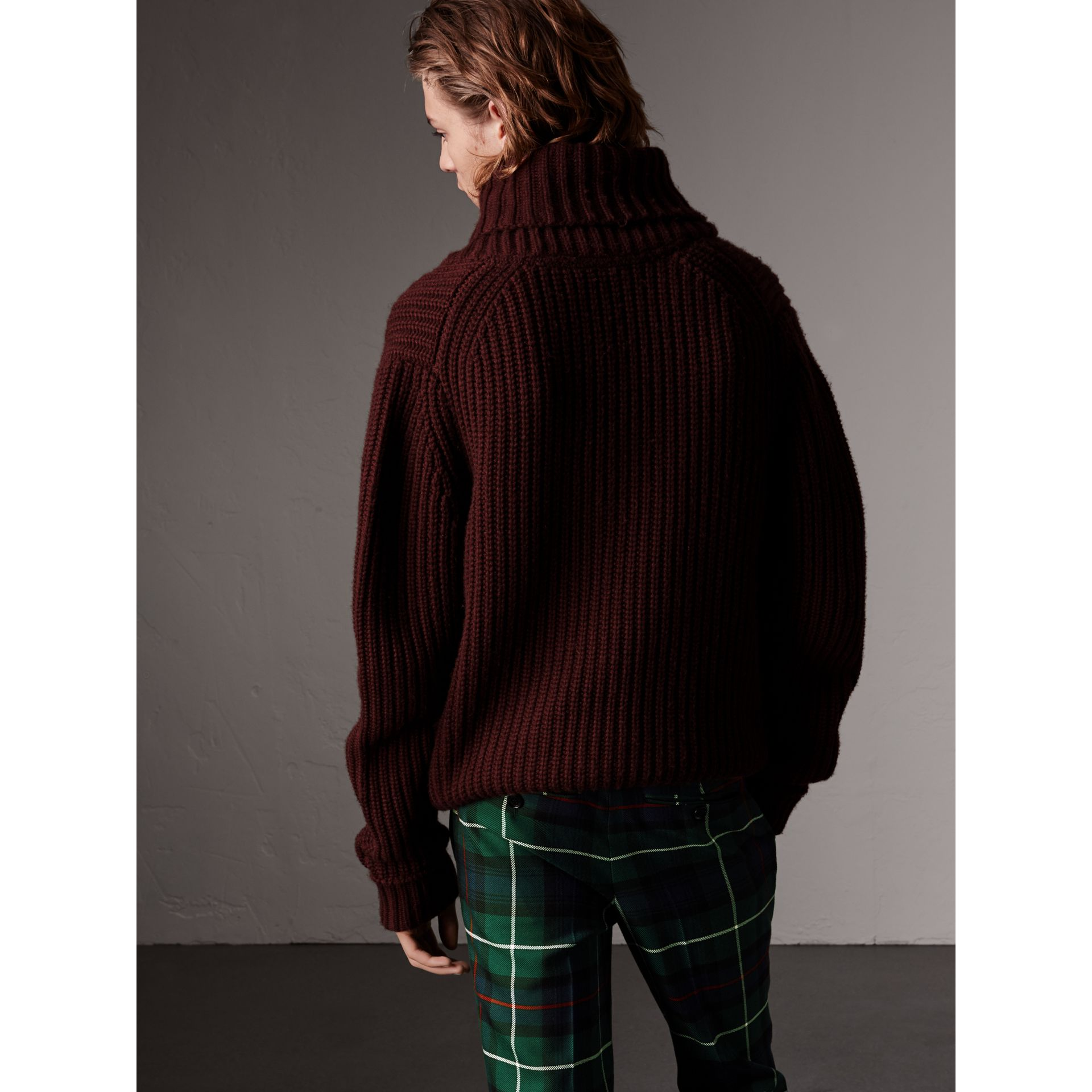 Shawl Collar Wool Cashmere Sweater in Mahogany Red - Men | Burberry United Kingdom - gallery image 2