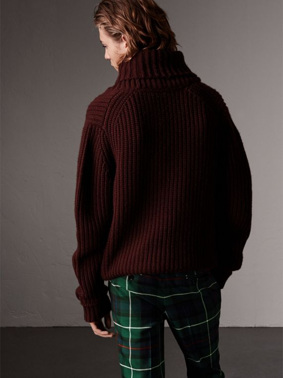 Shawl Collar Wool Cashmere Sweater in Mahogany Red - Men | Burberry - cell image 2