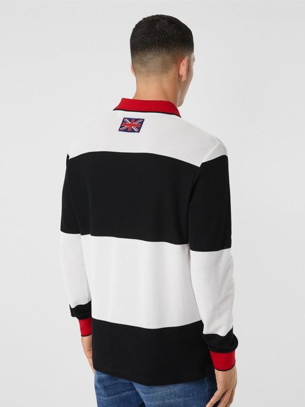 ロングスリーブ ロゴアップリケ ストライプ コットンポロシャツ (ブラック/ホワイト) - メンズ | バーバリー - cell image 2