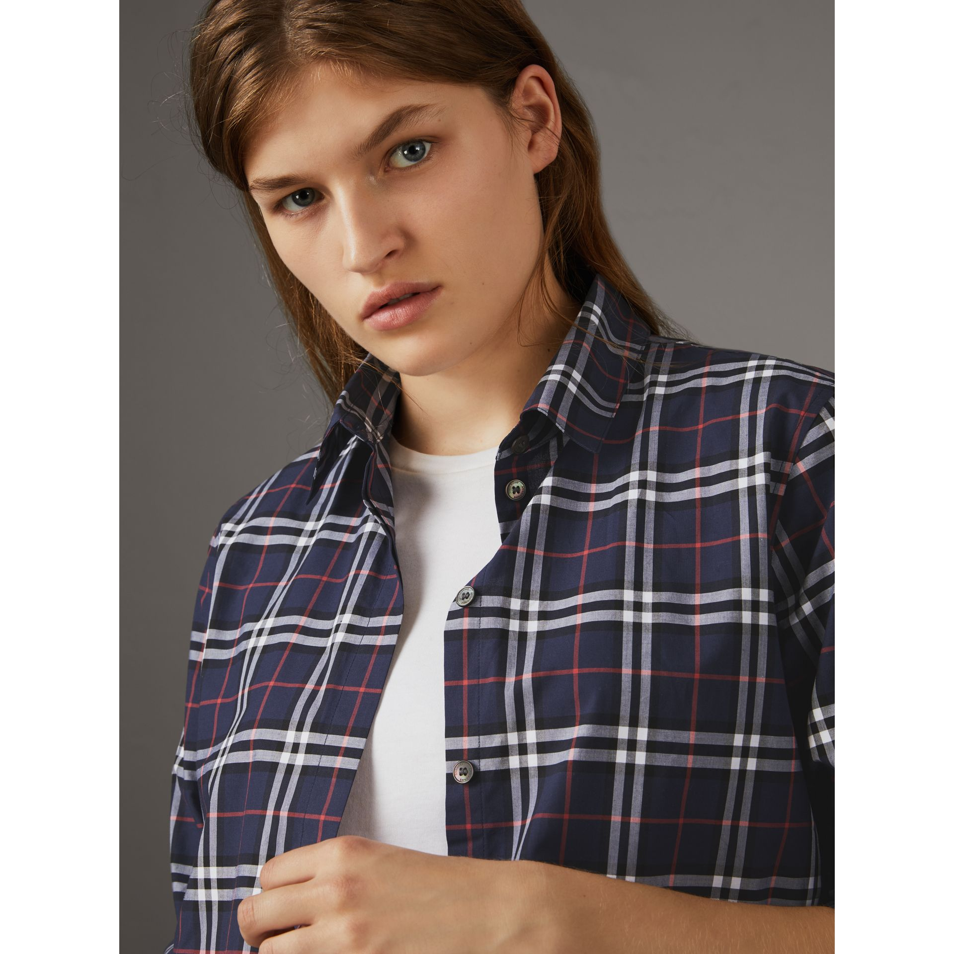 Vintage Check Cotton Shirt in Navy - Women | Burberry Canada - gallery image 2