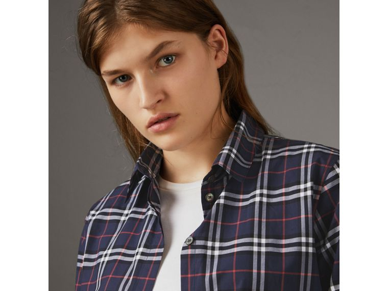 Check Cotton Shirt in Navy - Women | Burberry United Kingdom - cell image 1