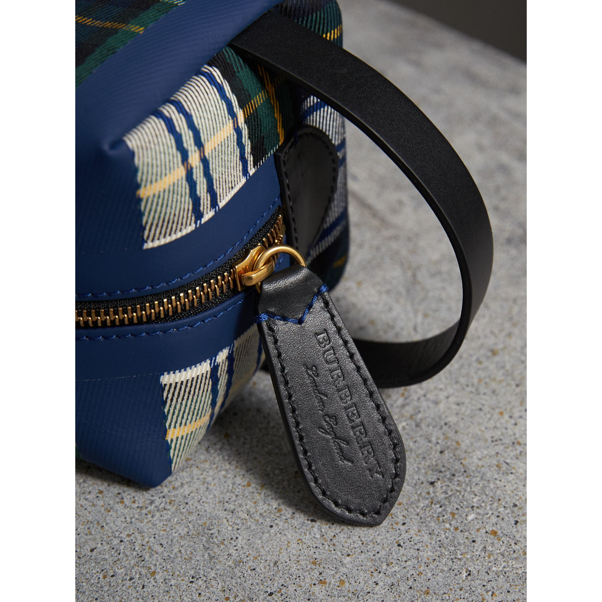 Tartan Cotton Pouch in Limestone | Burberry United Kingdom - gallery image 1