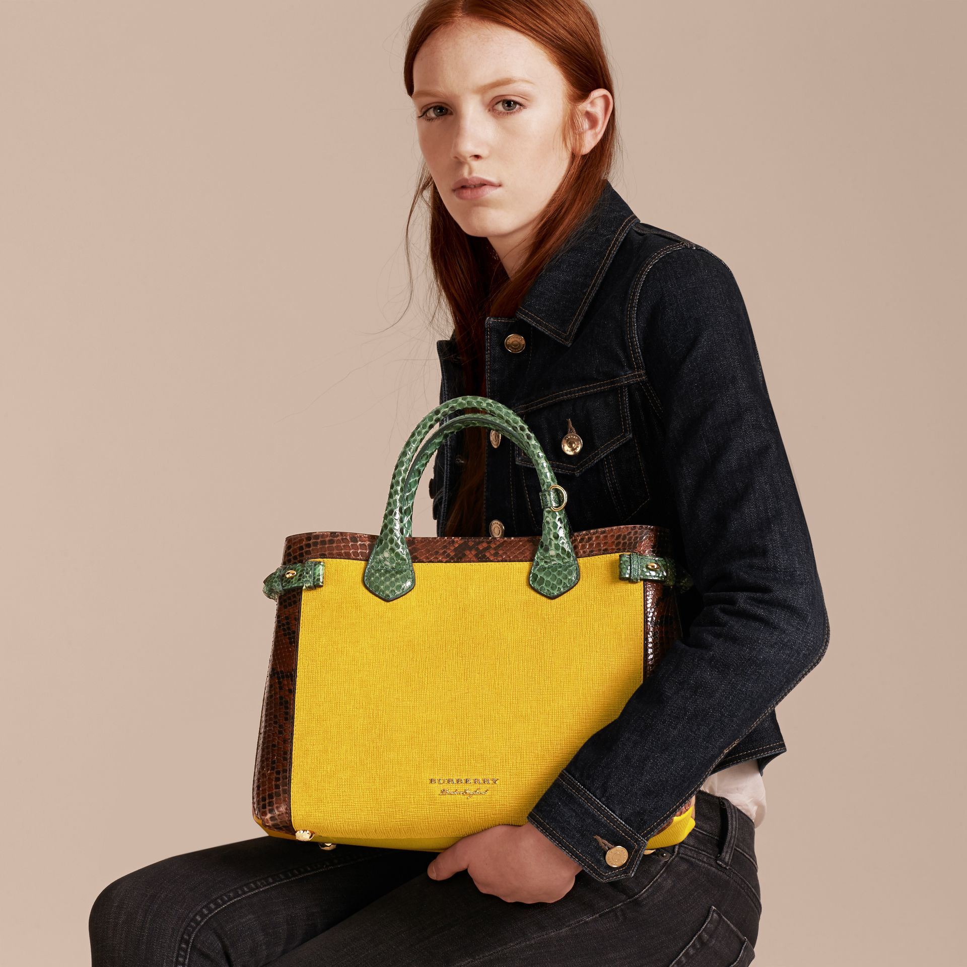The Medium Banner in Leather, Python and House Check in Larch Yellow - Women | Burberry Singapore - gallery image 3