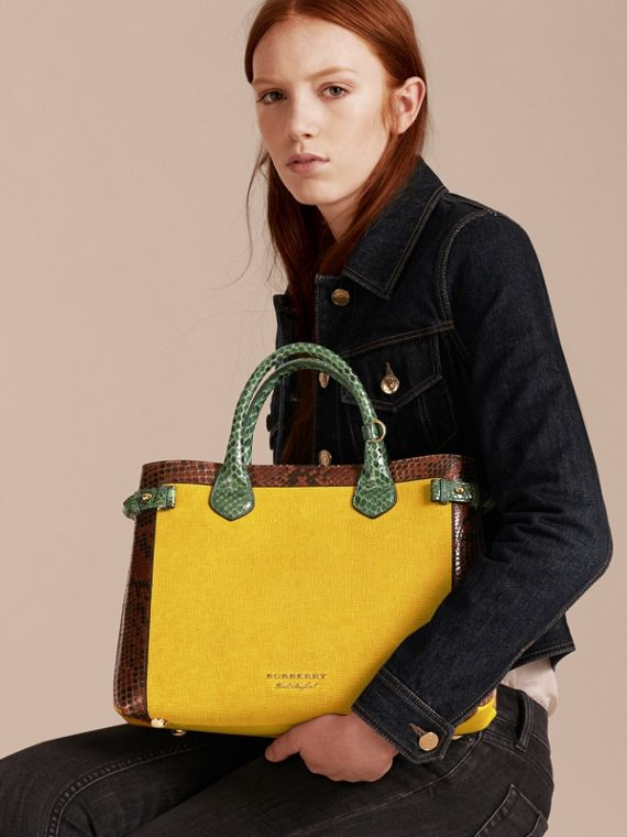 The Medium Banner in Leather, Python and House Check in Larch Yellow - Women | Burberry Australia - cell image 2