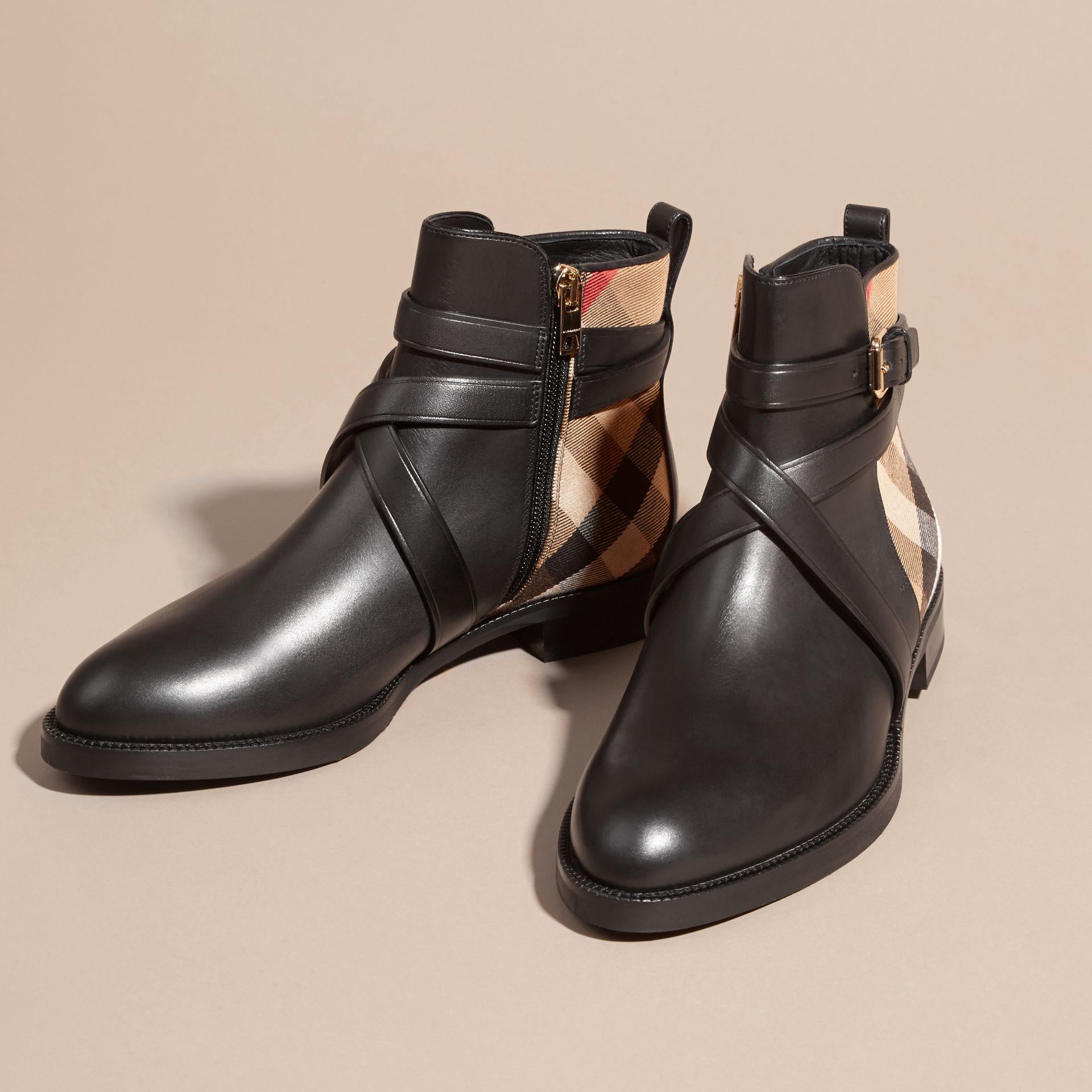 Strap Detail House Check and Leather Ankle Boots in Black - Women | Burberry - gallery image 3