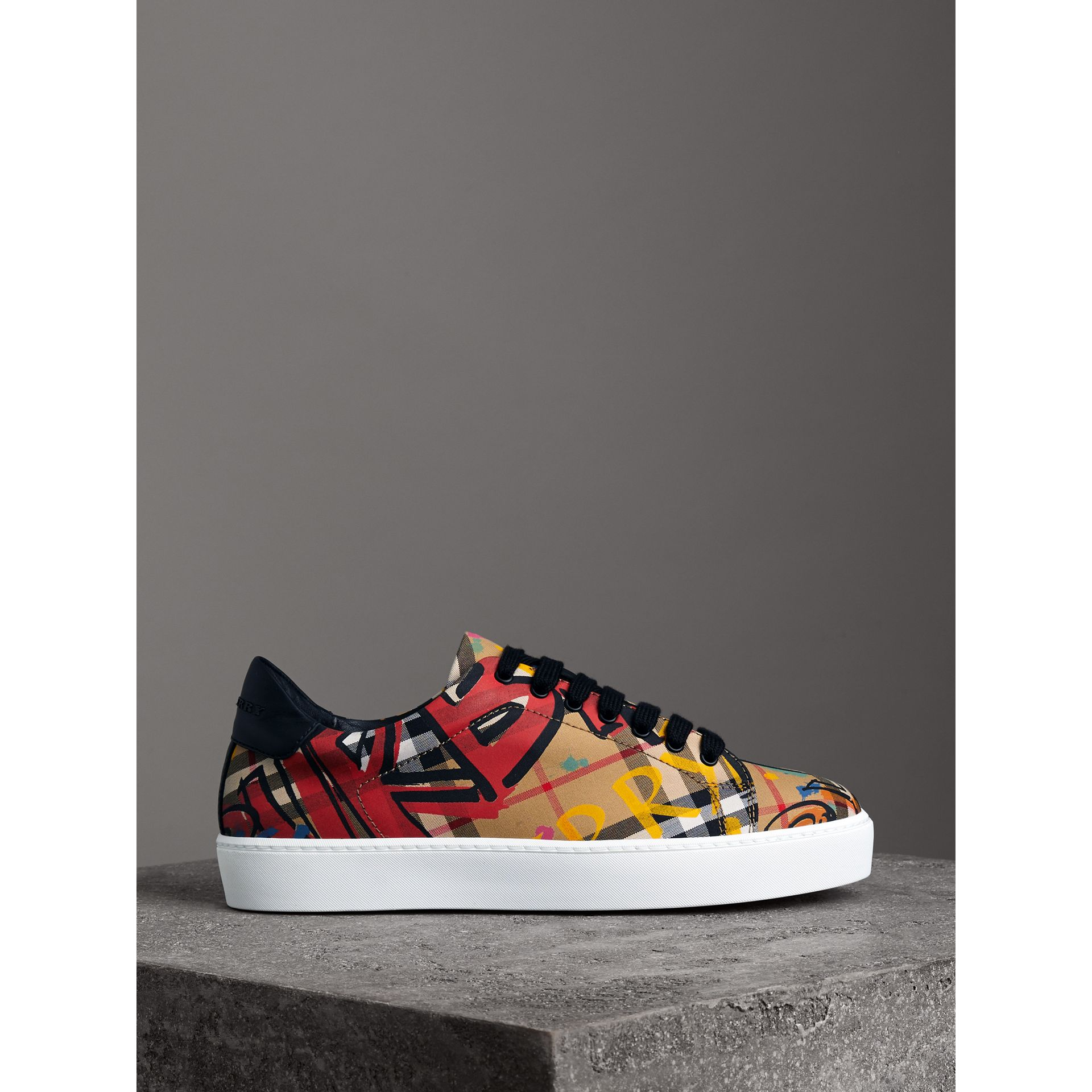 Graffiti Print Vintage Check Sneakers in Antique Yellow - Women | Burberry Canada - gallery image 4