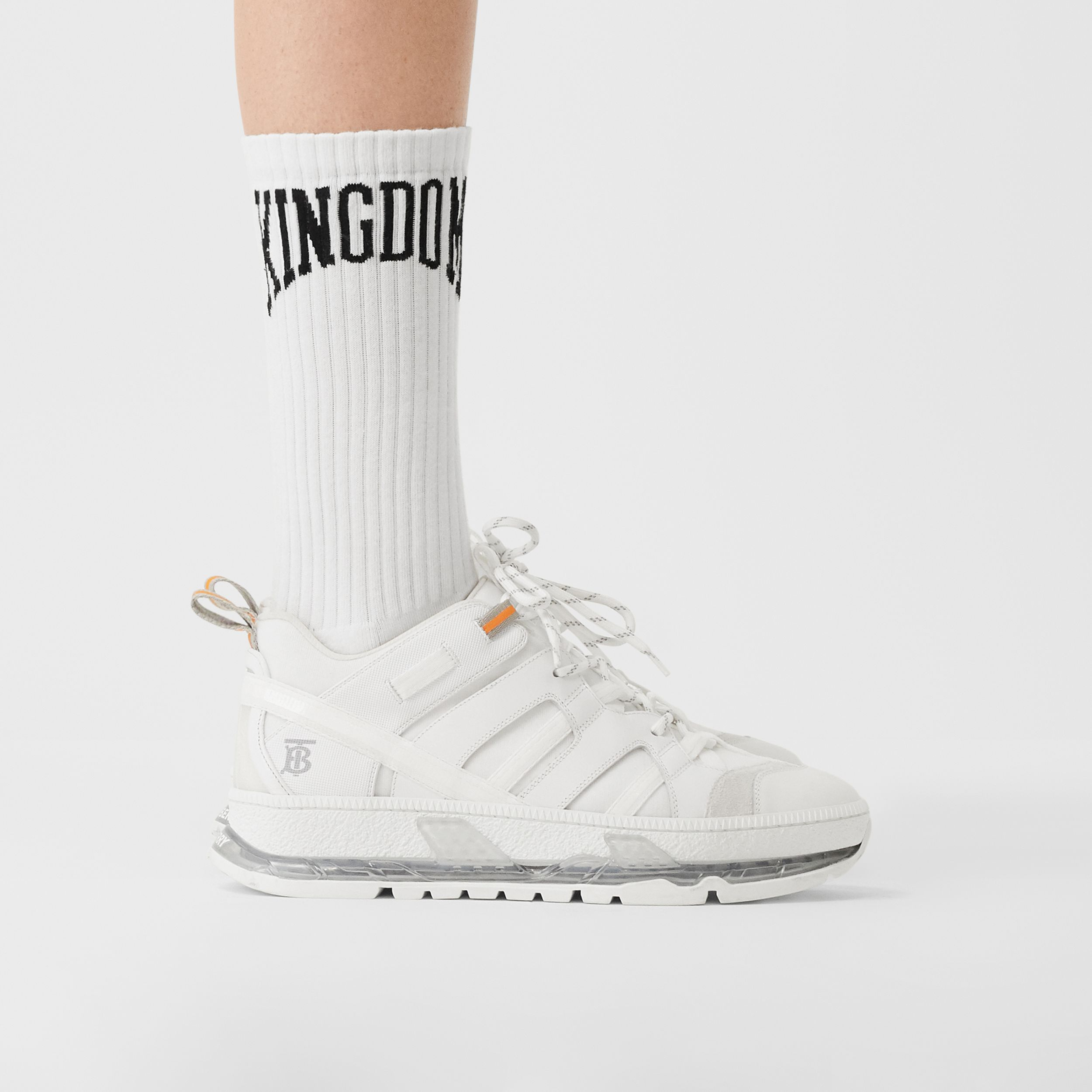 Kingdom Intarsia Cotton Blend Socks in White | Burberry Singapore - 3