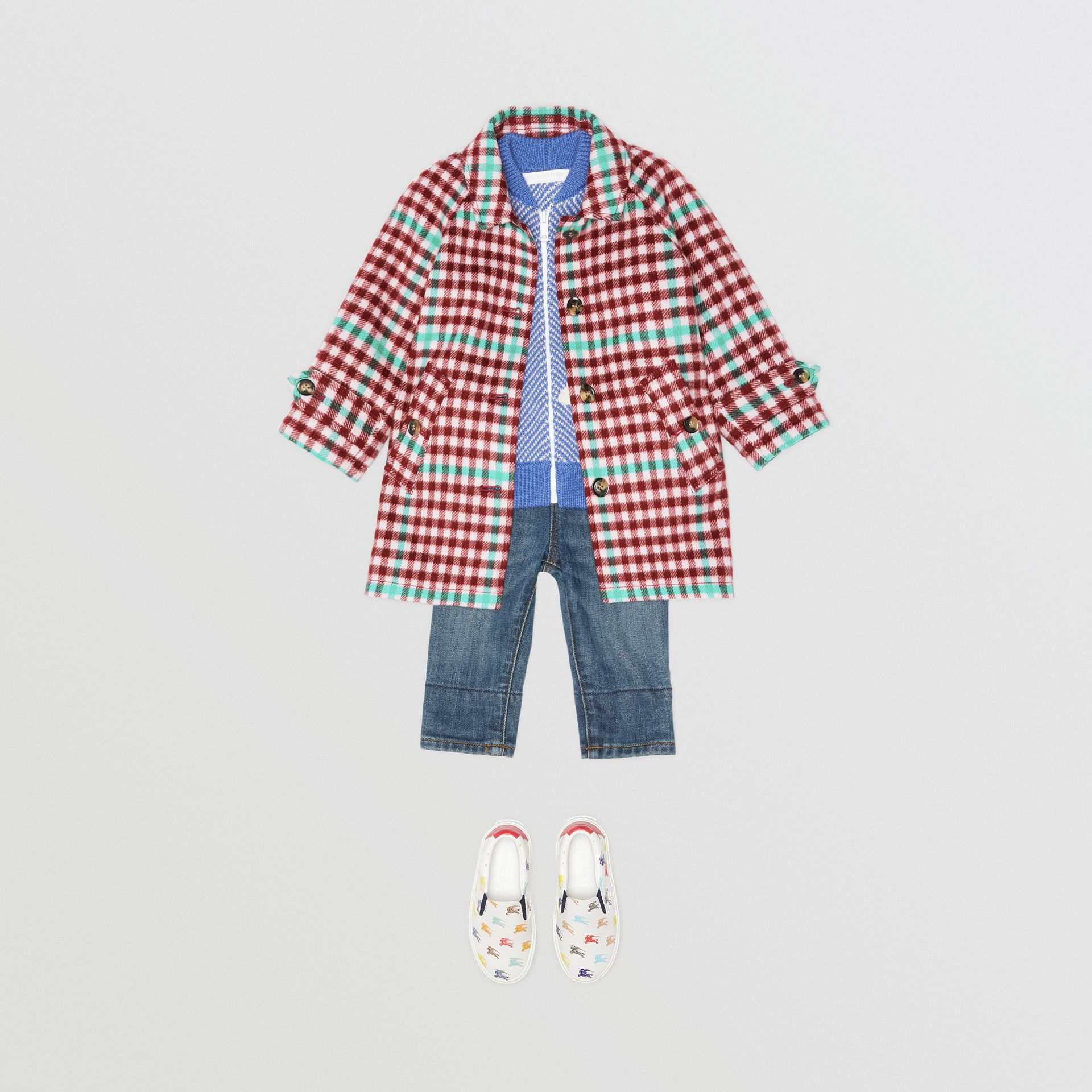 Check Wool Car Coat in Garnet Pink - Children | Burberry - gallery image 2