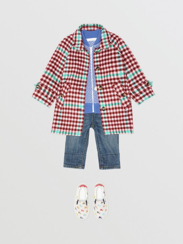 Check Wool Car Coat in Garnet Pink - Children | Burberry United States - cell image 2
