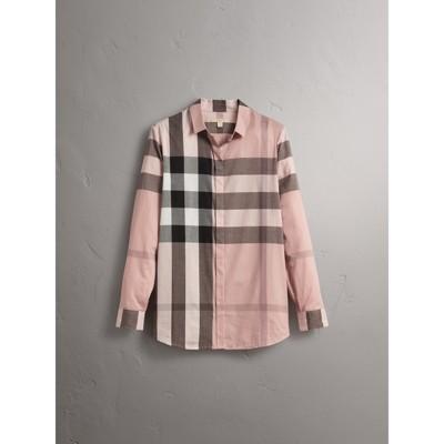 Check Cotton Shirt in Antique Pink Women