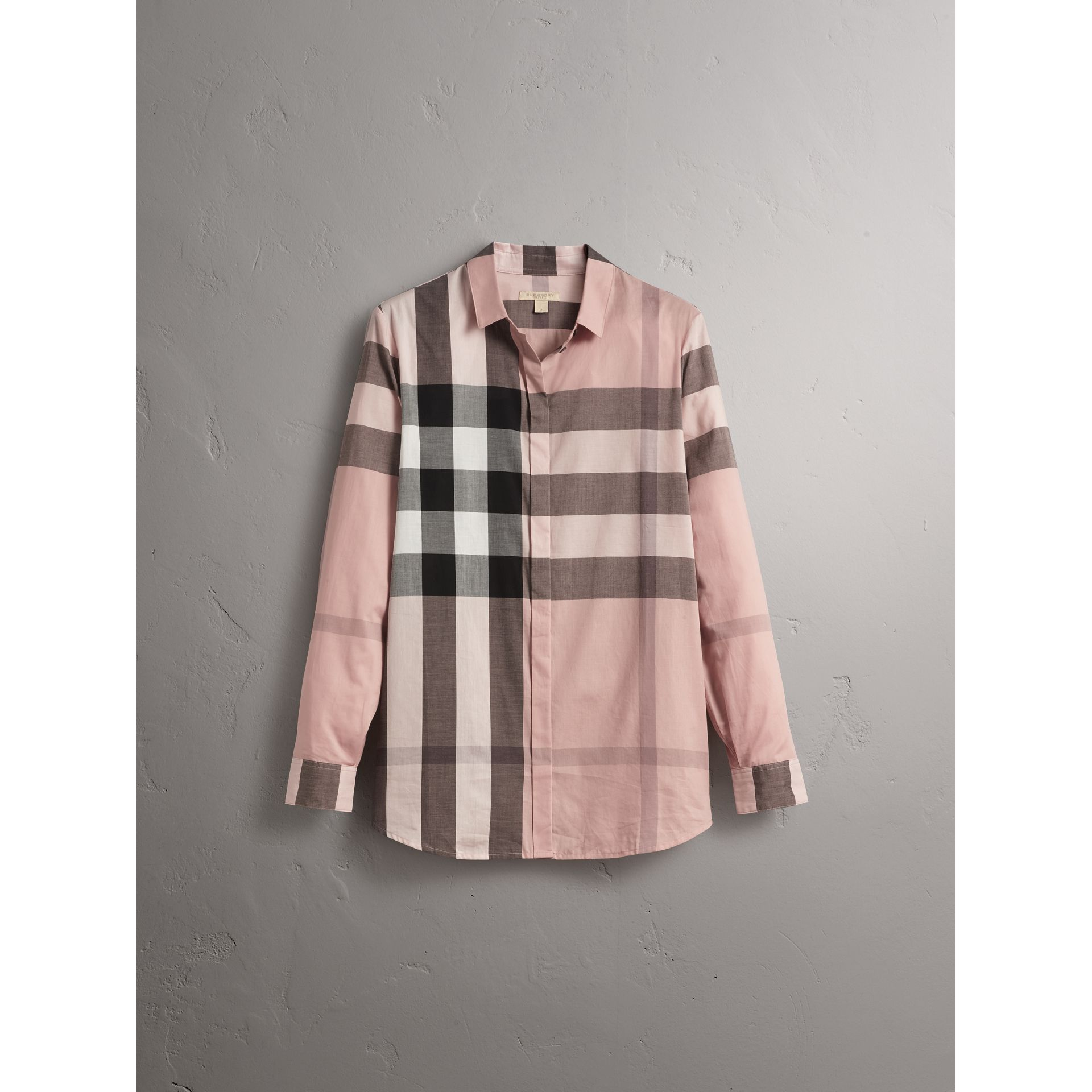 Chemise en coton à motif check (Rose Antique) - Femme | Burberry - photo de la galerie 4