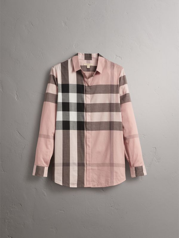 Check Cotton Shirt in Antique Pink - Women | Burberry - cell image 3
