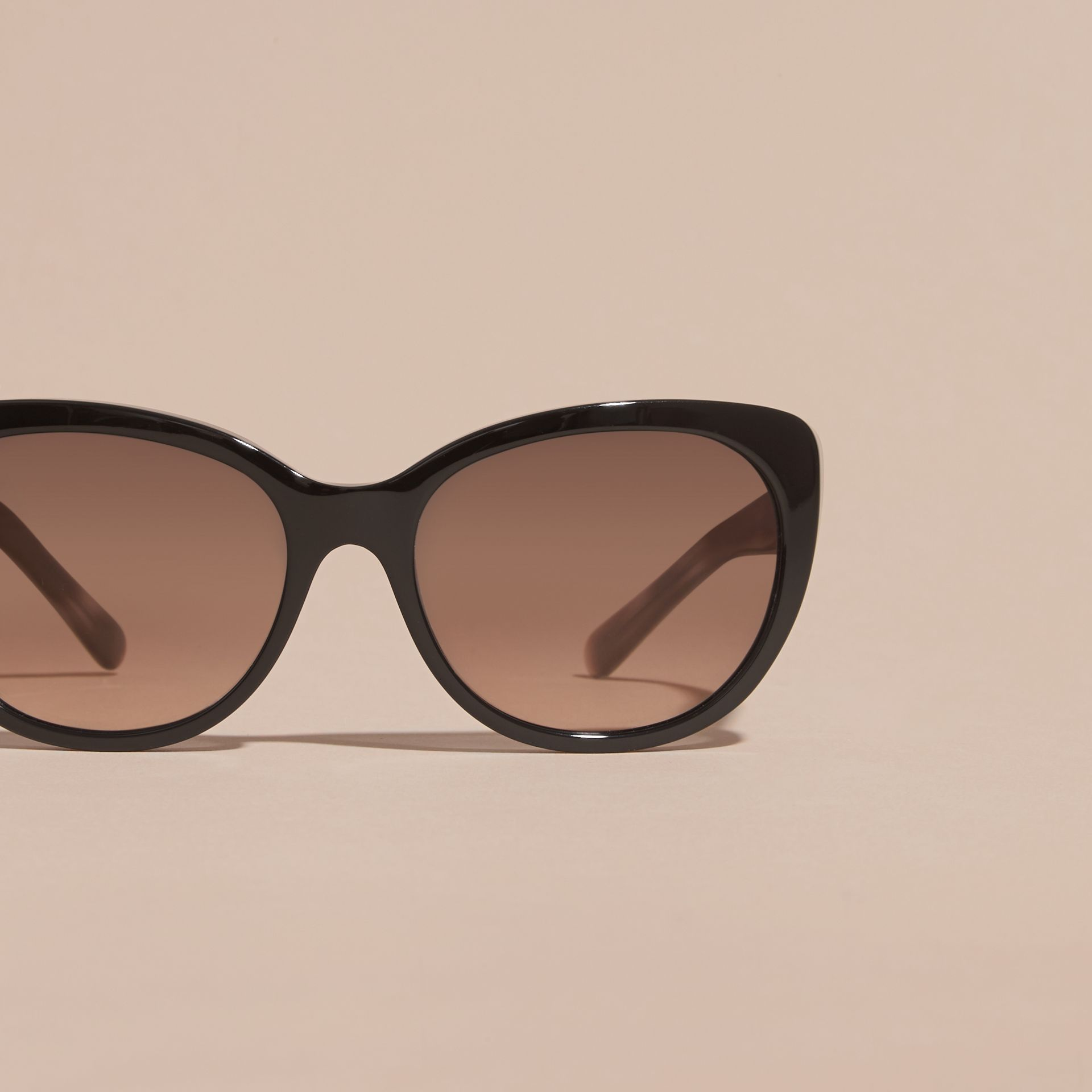 Check Detail Cat-eye Sunglasses in Black - Women | Burberry Australia - gallery image 3