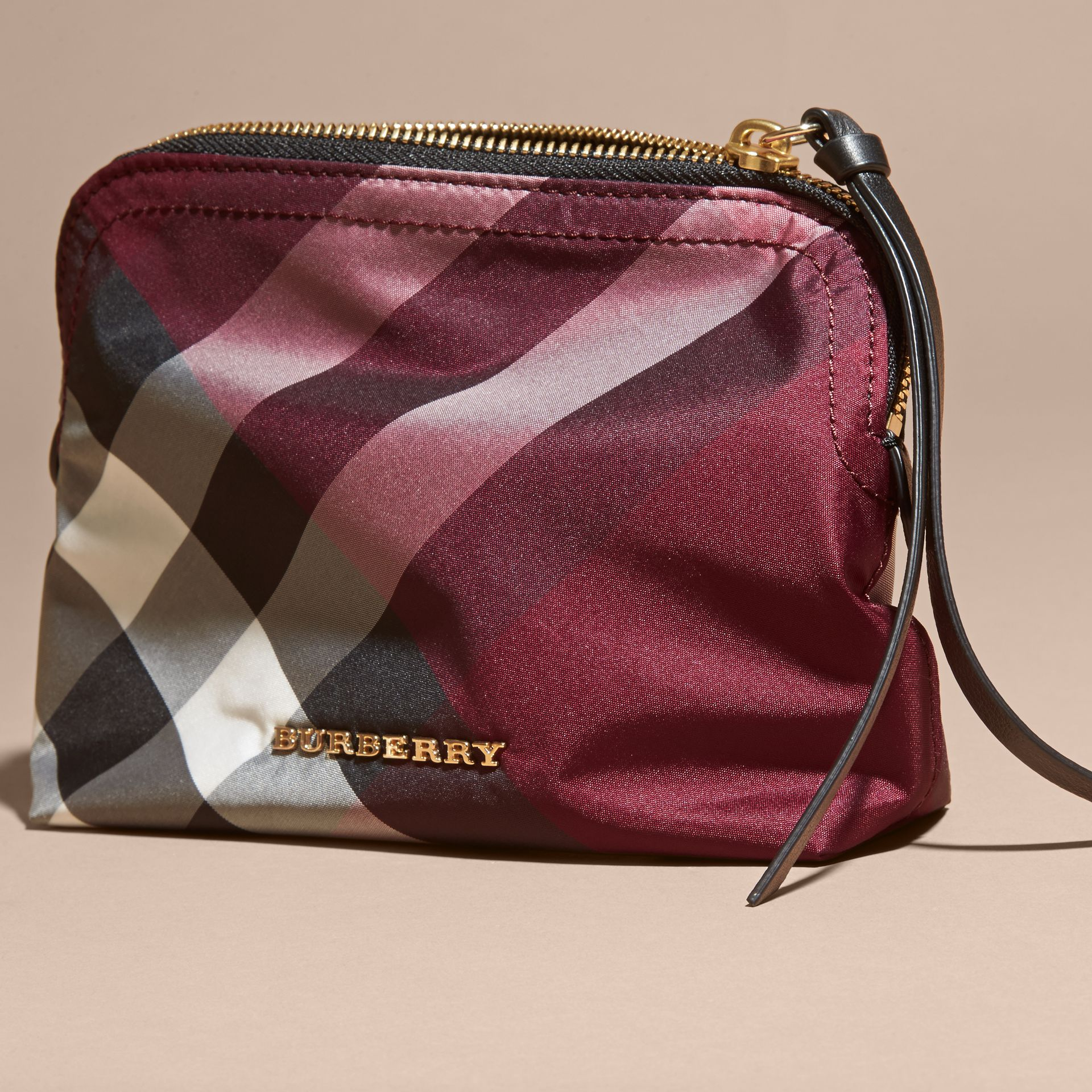Medium Zip-top Check Technical Pouch in Plum - Women | Burberry - gallery image 3
