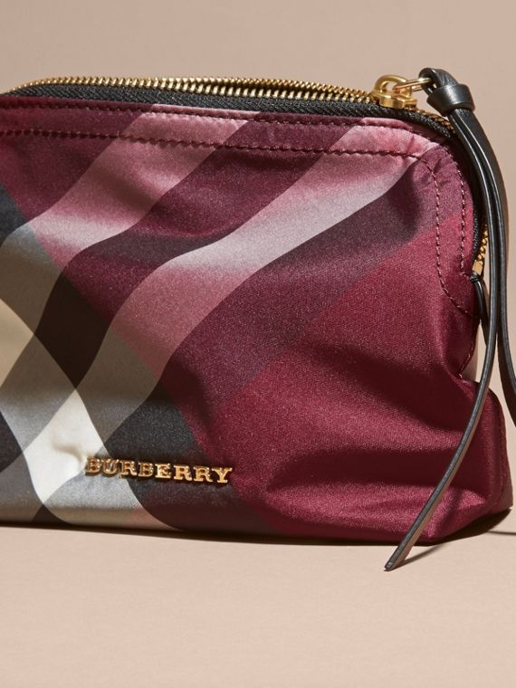 Medium Zip-top Check Technical Pouch in Plum - Women | Burberry - cell image 2