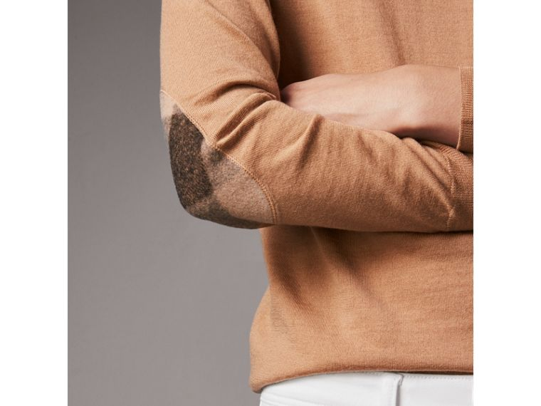 Check Detail Merino Wool Crew Neck Sweater in Camel - Women | Burberry - cell image 1
