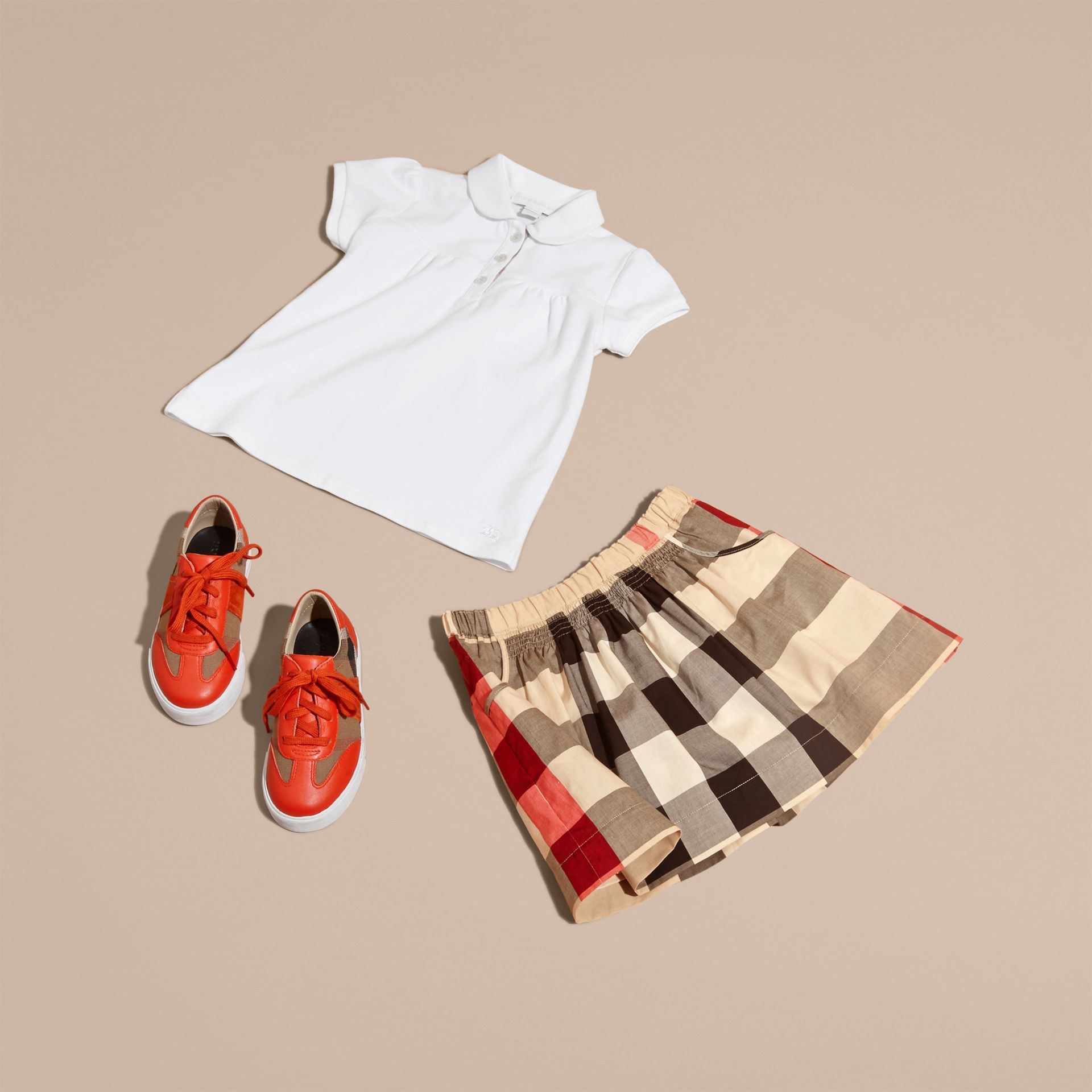 Check Cotton Ruched Skirt in New Classic - Girl | Burberry - gallery image 5