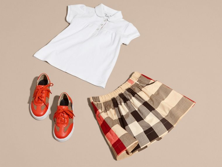 Check Cotton Ruched Skirt in New Classic - Girl | Burberry - cell image 4