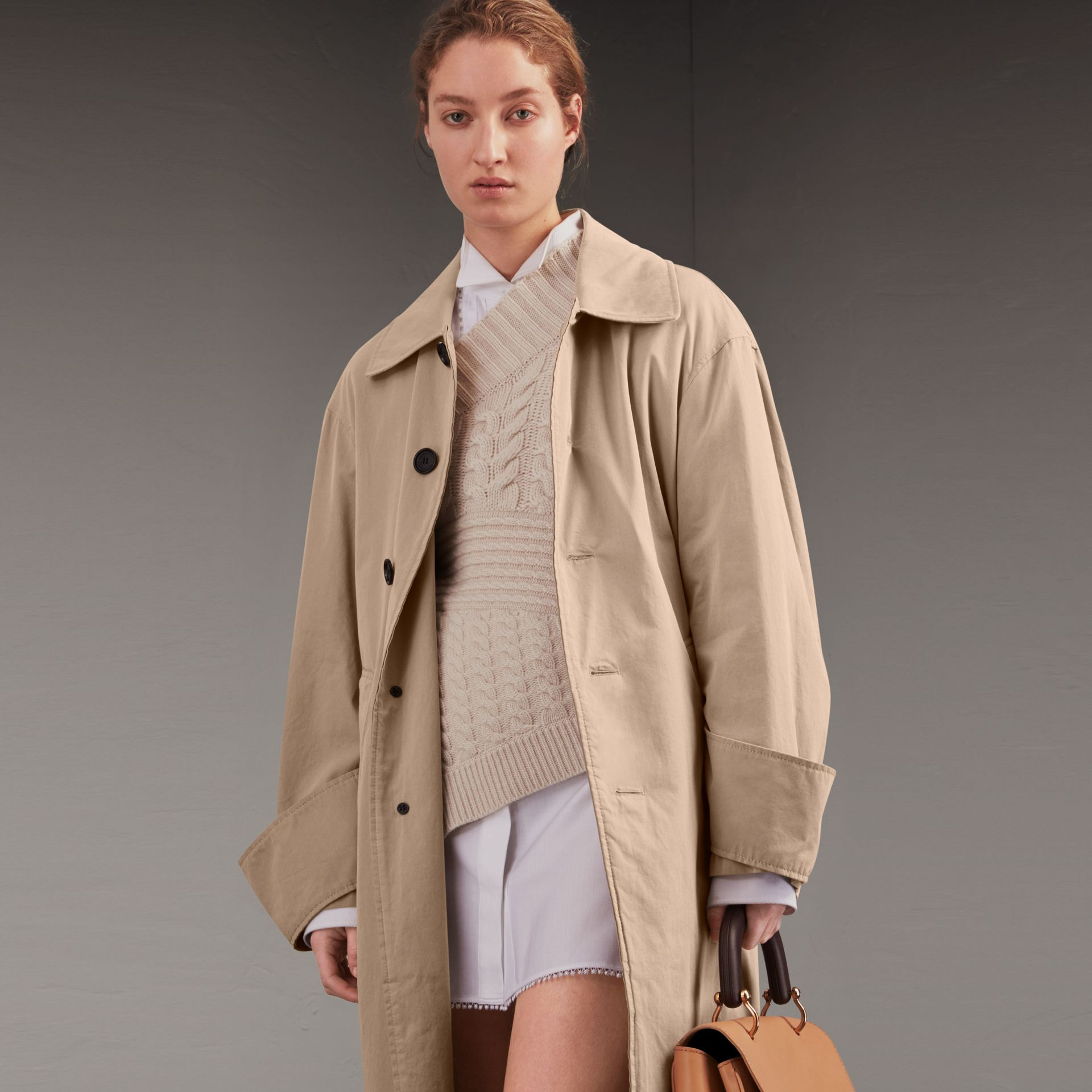 Unisex Tropical Gabardine Car Coat with Exaggerated Cuffs in Light Taupe - Women | Burberry - gallery image 8