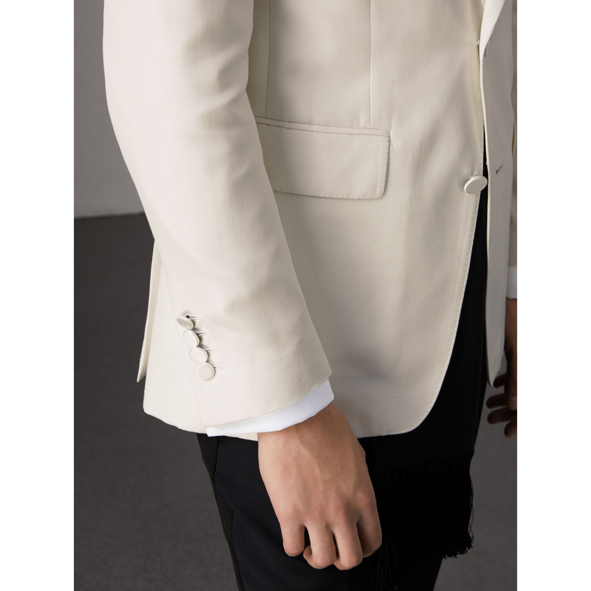 Slim Fit Silk Evening Jacket in Off White - Men | Burberry United Kingdom - gallery image 5
