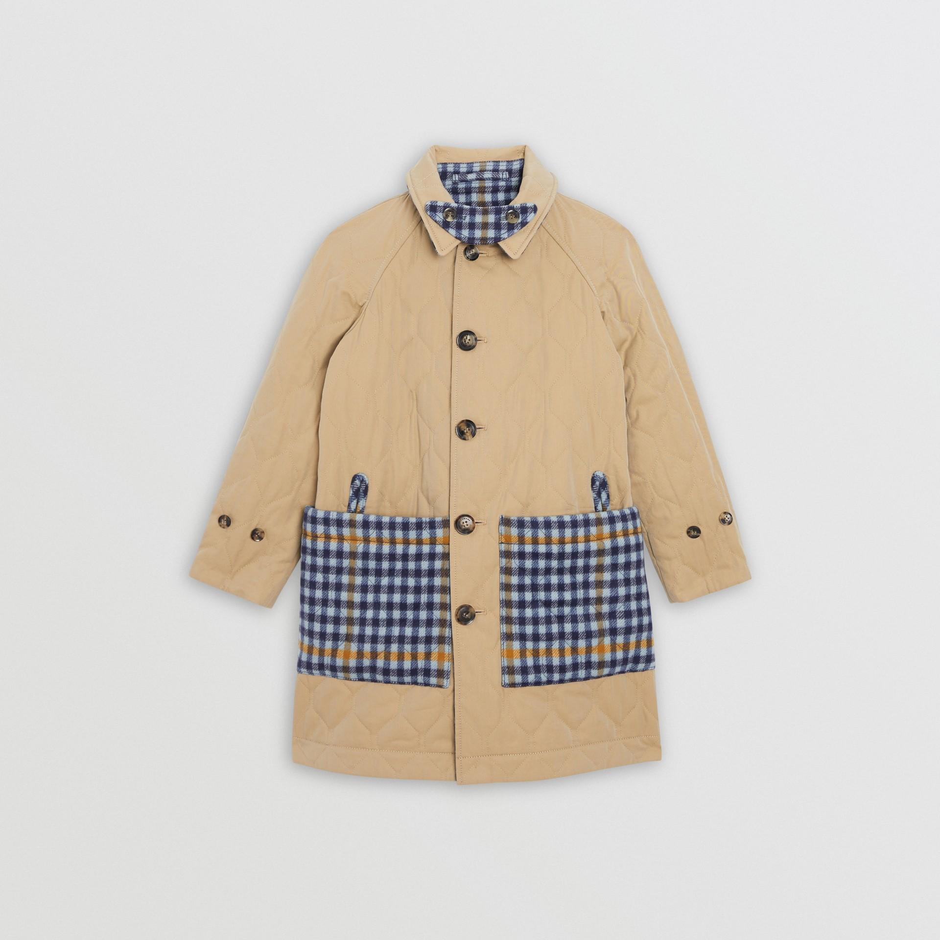 Car coat dupla face de algodão e lã com estampa xadrez (Azul Lona) | Burberry - galeria de imagens 4
