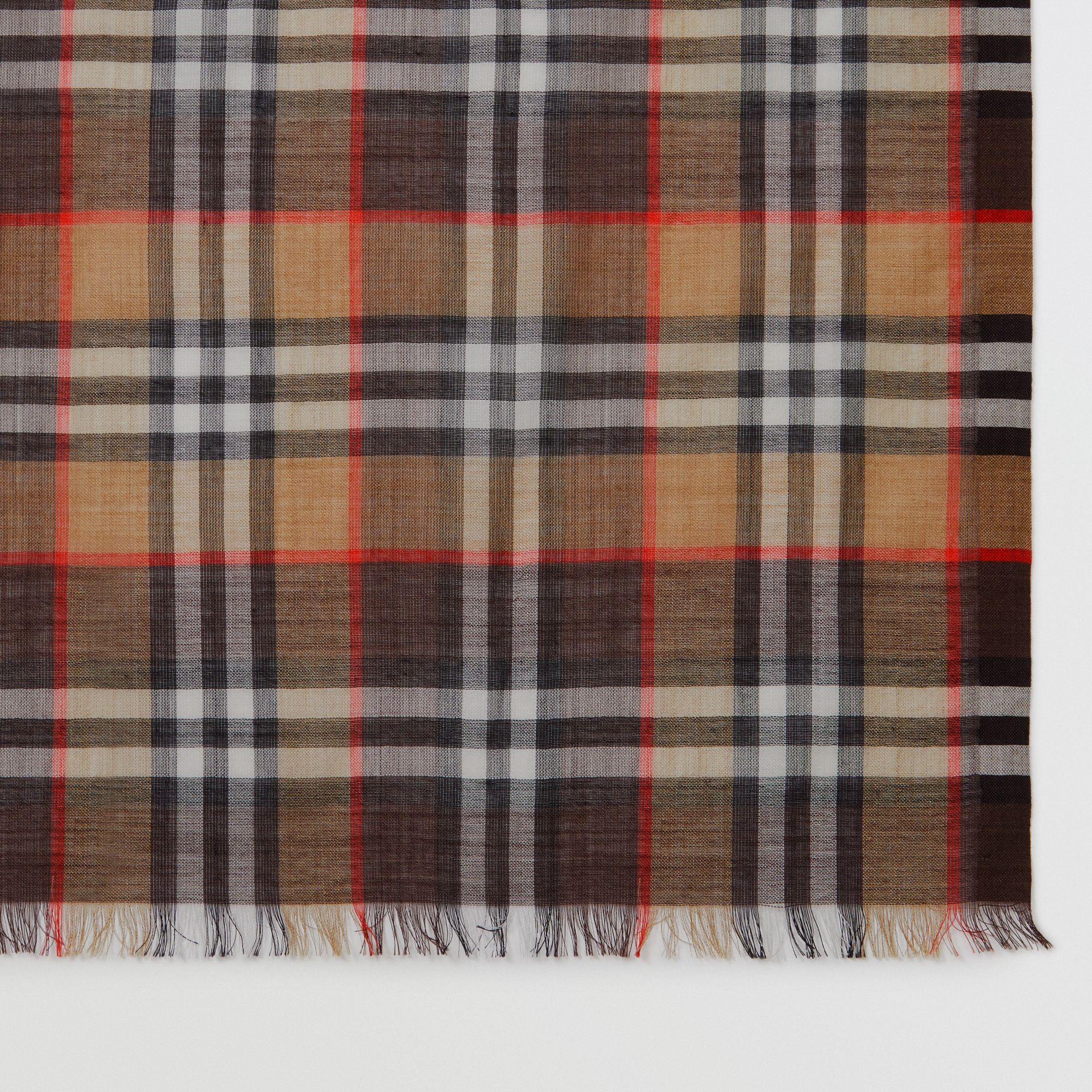 Vintage Check Lightweight Wool Silk Scarf in Mahogany | Burberry United Kingdom - gallery image 1