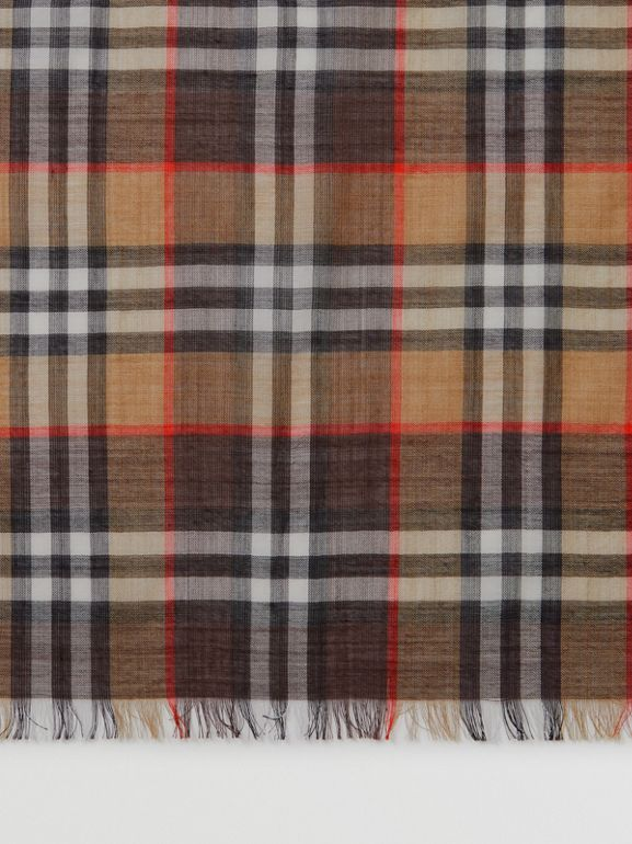 Vintage Check Lightweight Wool Silk Scarf in Mahogany | Burberry United Kingdom - cell image 1