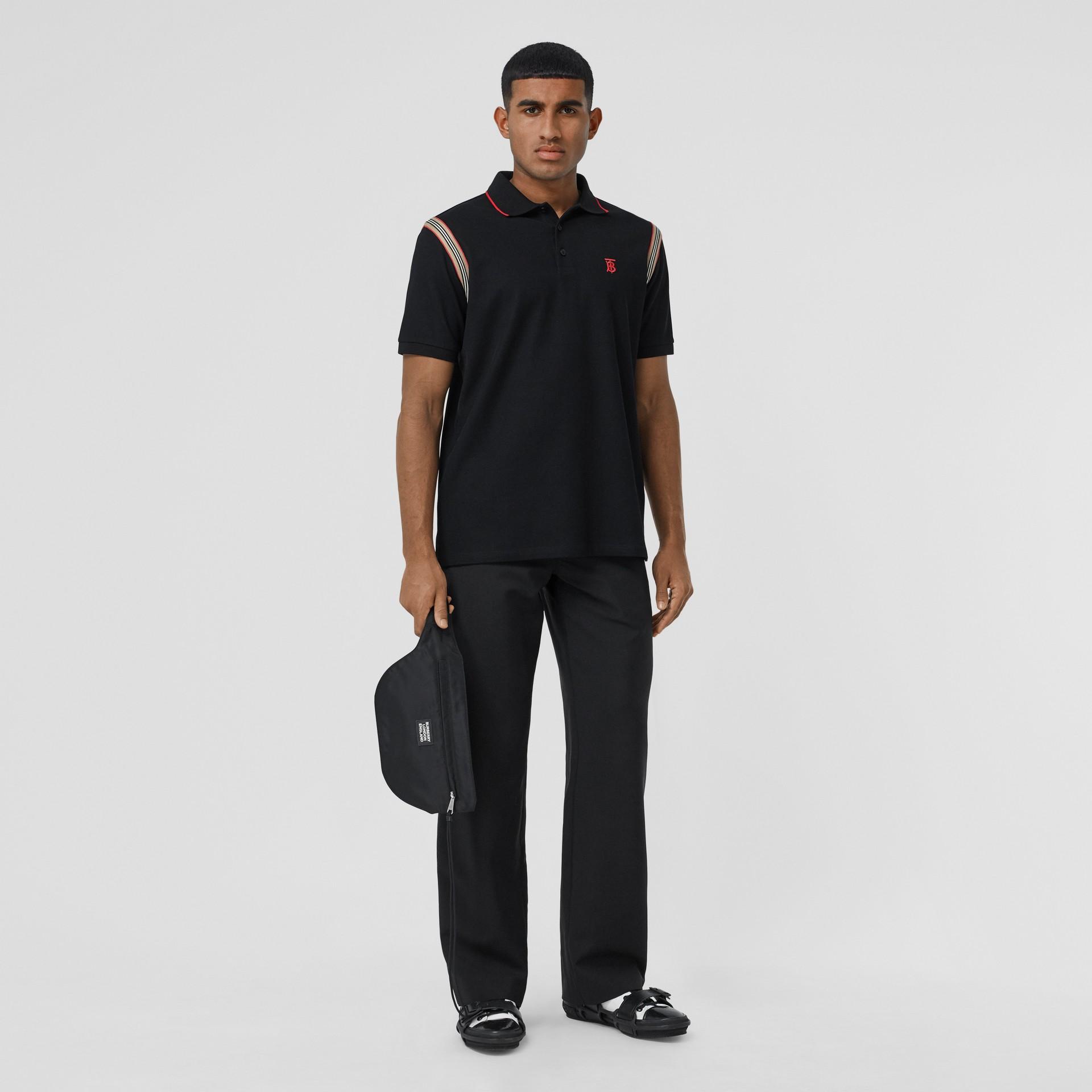 Icon Stripe Trim Monogram Motif Cotton Polo Shirt in Black - Men | Burberry - gallery image 5