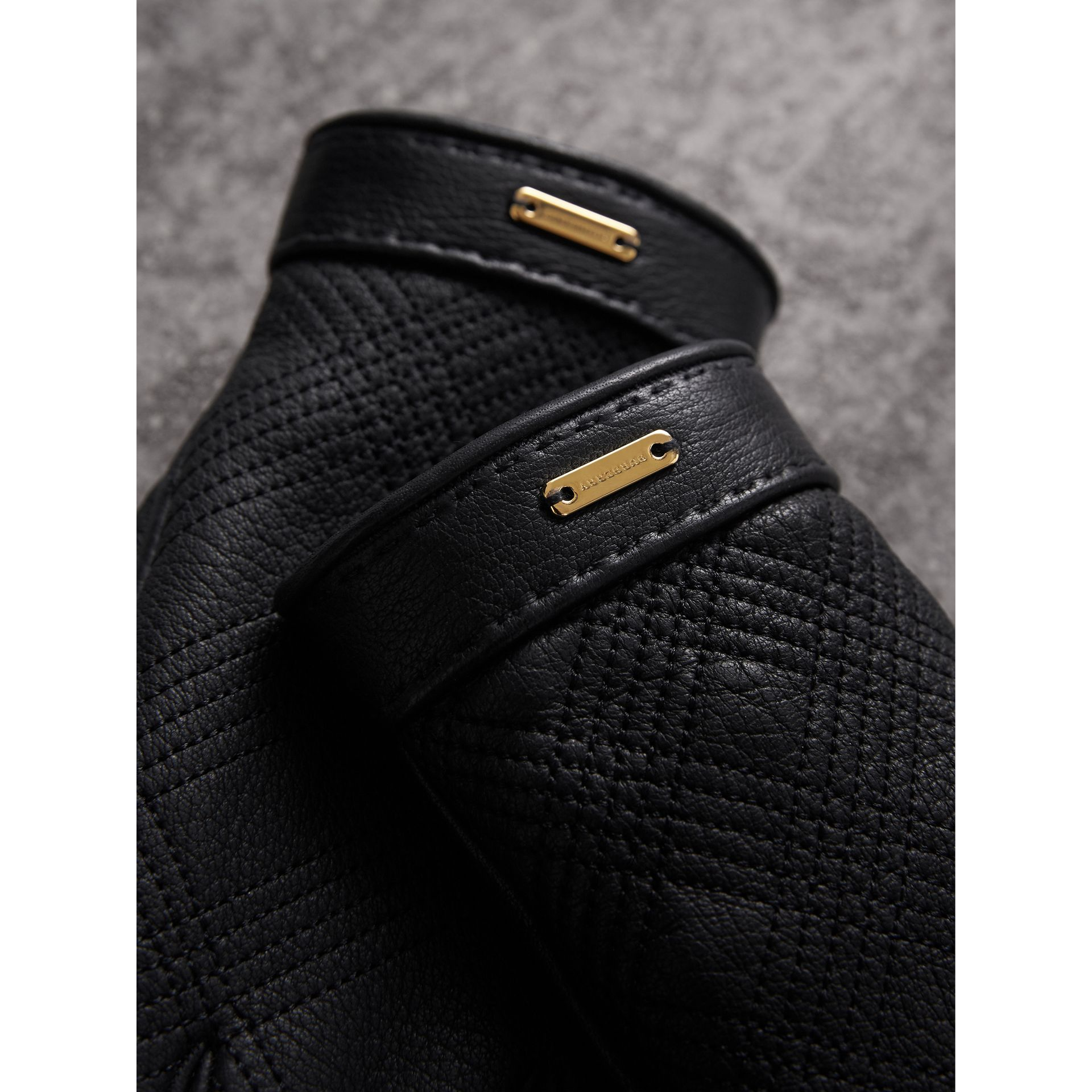 Check Embroidered Lambskin Gloves in Black - Women | Burberry - gallery image 2