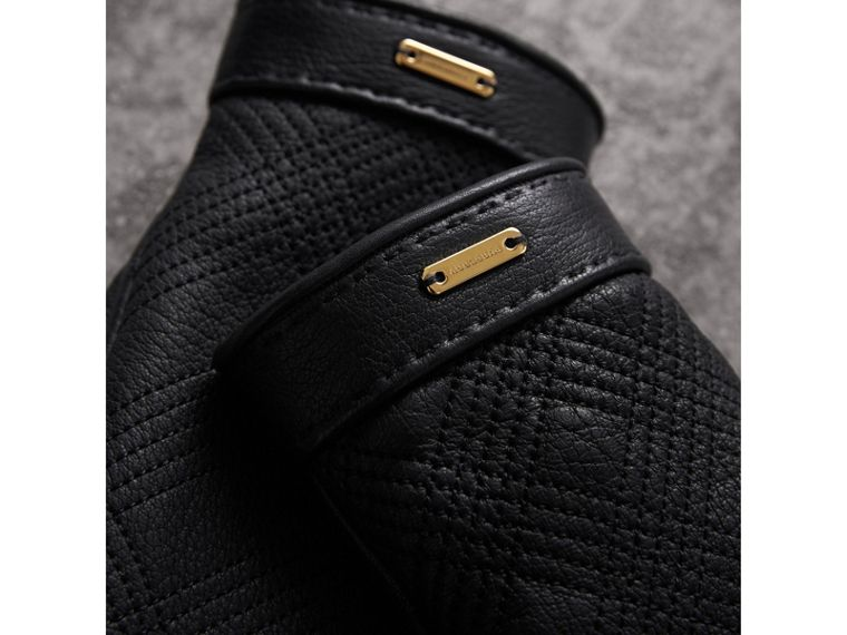 Check Embroidered Lambskin Gloves in Black - Women | Burberry - cell image 1