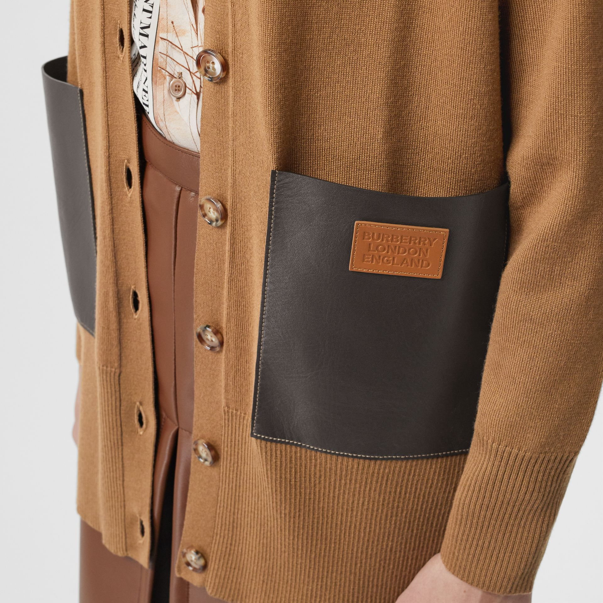 Lambskin Pocket Merino Wool Cardigan in Warm Walnut - Women | Burberry - gallery image 4