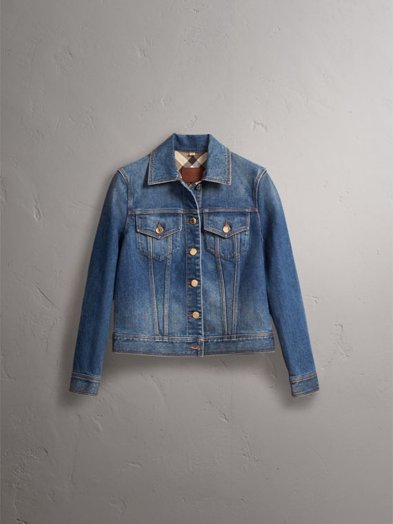 Check Detail Denim Jacket in Light Indigo - Women | Burberry Hong Kong - cell image 3
