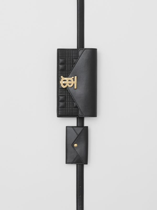 Quilted Lambskin Wallet with Leather Belt in Black - Women | Burberry United Kingdom - cell image 2