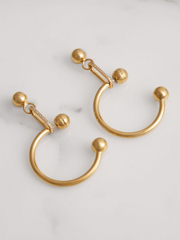Crystal Charm Gold-plated Hoop Earrings in Light Gold/crystal - Women | Burberry United Kingdom - cell image 3