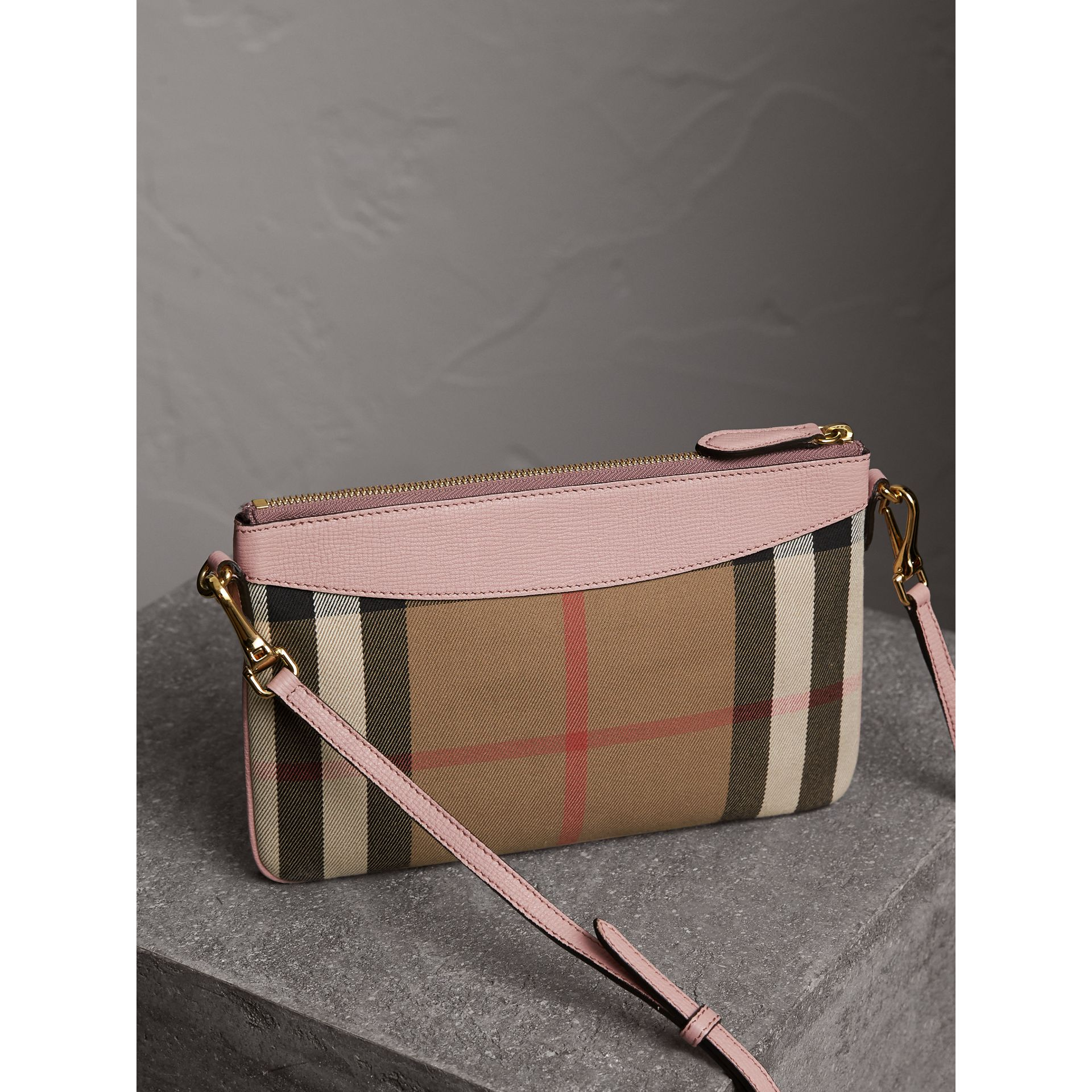 House Check and Leather Clutch Bag in Pale Orchid - Women | Burberry Singapore - gallery image 4