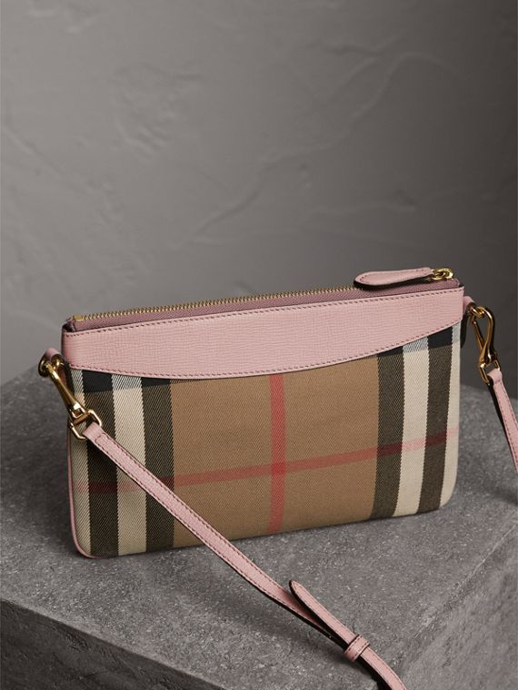 House Check and Leather Clutch Bag in Pale Orchid - Women | Burberry Hong Kong - cell image 2