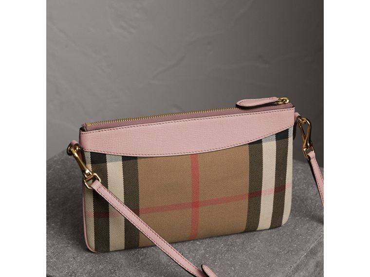 House Check and Leather Clutch Bag in Pale Orchid - Women | Burberry Singapore - cell image 4