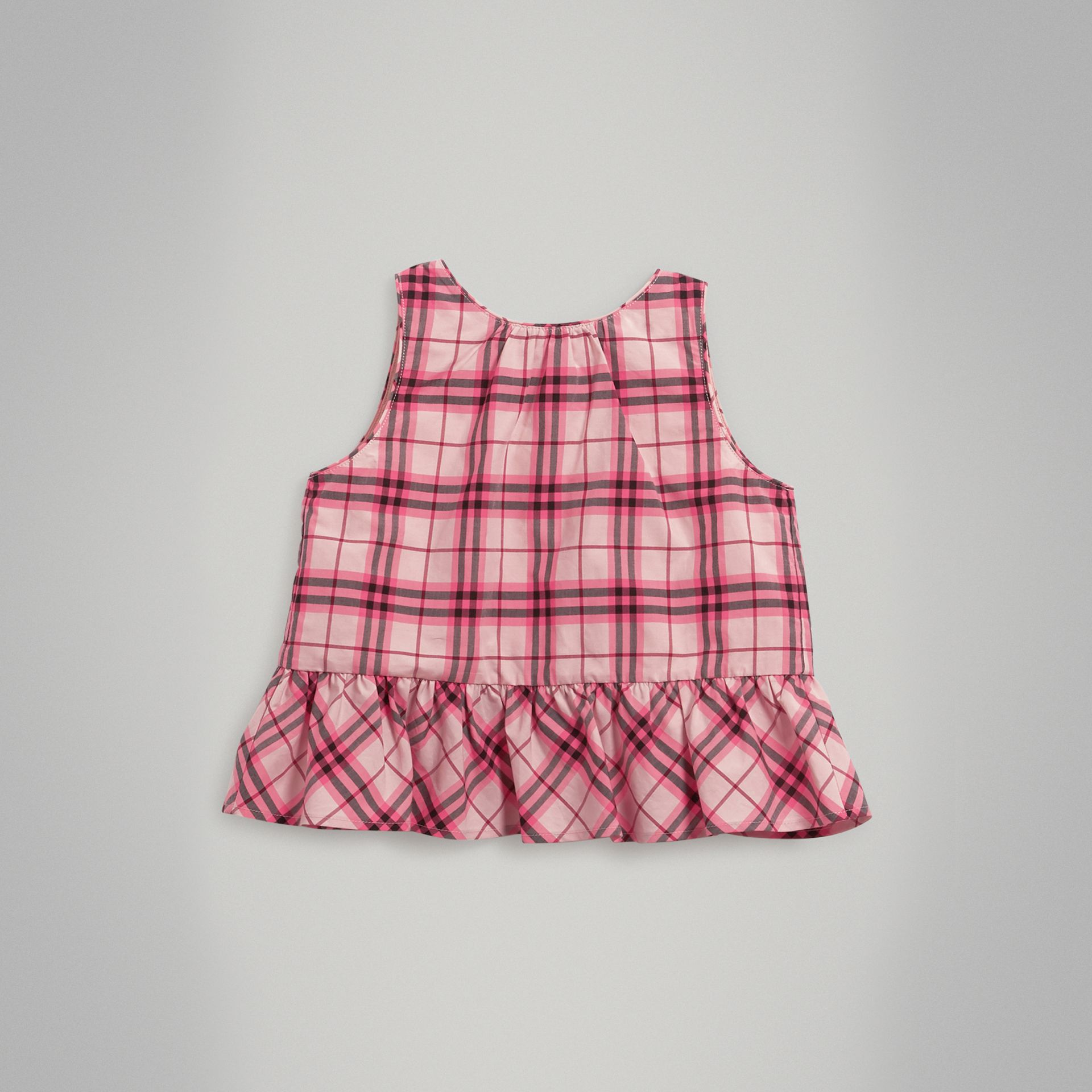 Ruffle Detail Check Cotton Top in Bright Rose | Burberry - gallery image 0