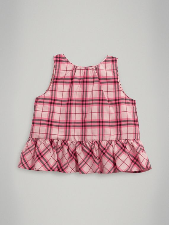 Ruffle Detail Check Cotton Top in Bright Rose