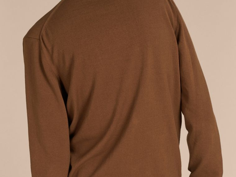 Ockerbraun Cardigan aus technischer Baumwolle mit Streifendetail Ockerbraun - cell image 1
