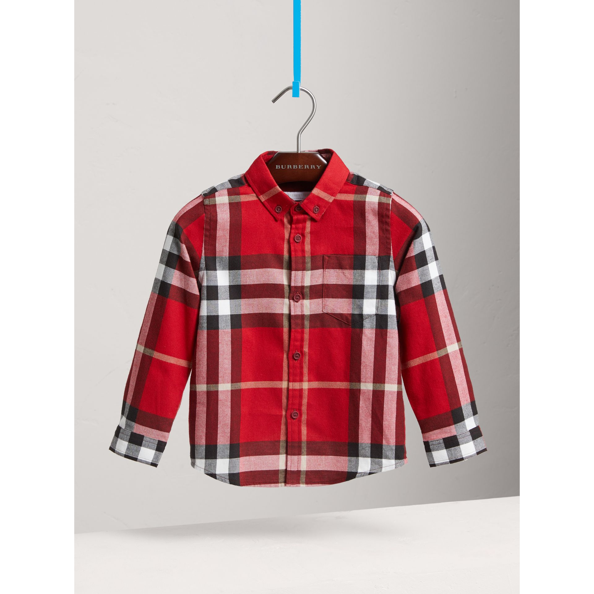 Check Cotton Flannel Button-Down Shirt in Parade Red - Boy | Burberry - gallery image 0