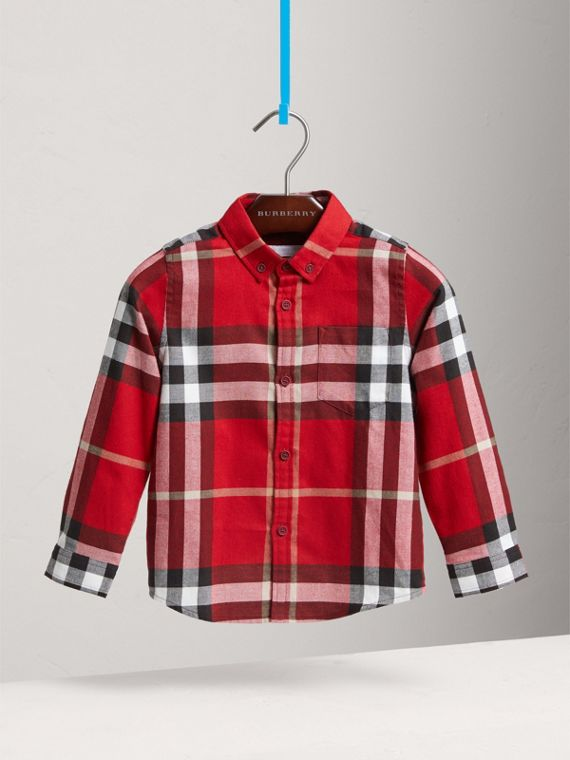 Check Cotton Flannel Button-Down Shirt in Parade Red