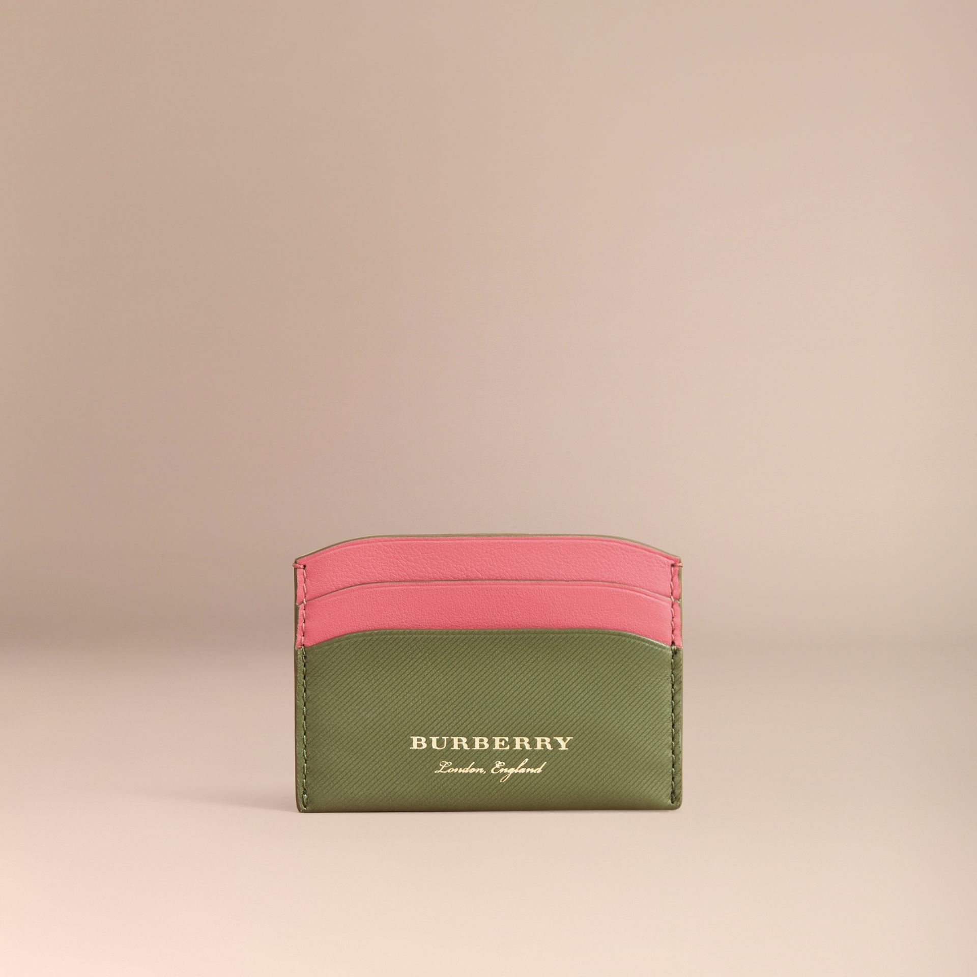 Two-tone Trench Leather Card Case in Mss Green/ Blsm Pink - Women | Burberry - gallery image 5