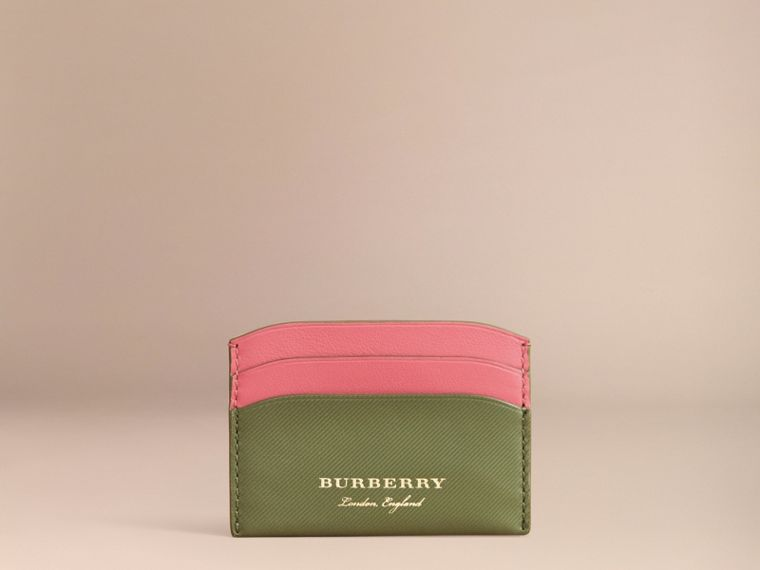 Two-tone Trench Leather Card Case in Mss Green/ Blsm Pink - Women | Burberry - cell image 4