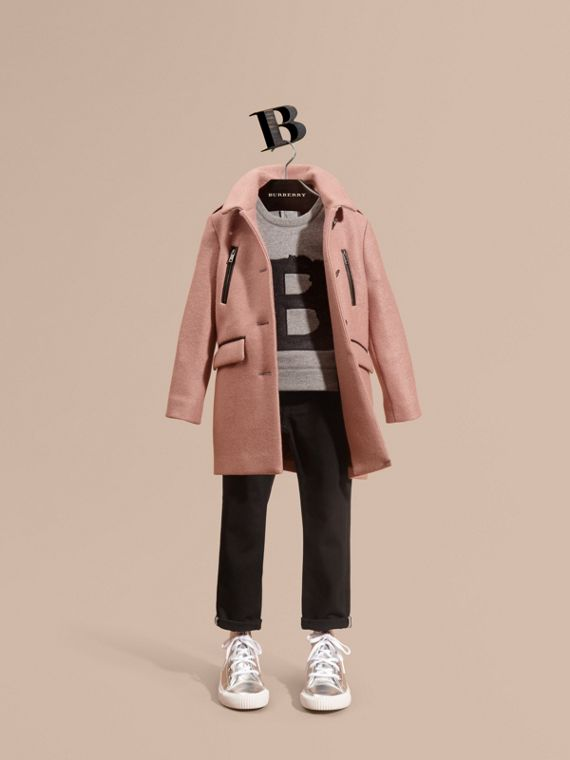Zip Detail Wool Coat Pale Ash Rose