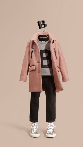 Zip Detail Wool Coat